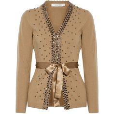 Valentino Embellished wool and cashmere-blend cardigan (38,115 THB) ❤ liked on Polyvore featuring tops, cardigans, jackets, camel, beige cardigan, loose fit tops, embellished tops, camel cardigan and wool cardigan