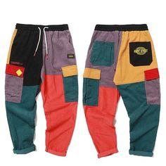Hip Hop Pants Vintage Color Block Patchwork Corduroy Cargo Harem Pant Streetwear - Men's style, accessories, mens fashion trends 2020 Hip Hop Fashion, Fashion Pants, Mens Fashion, Style Fashion, Rock Fashion, Fashion Tips, Streetwear Mode, Streetwear Fashion, Hipster Outfits