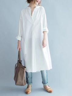 Simple Stand-collar White Long Blouse Dress – Linen Dresses For Women Linen Dresses, Women's Dresses, Dress Outfits, Look Fashion, Hijab Fashion, Fashion Outfits, White Fashion, Woman Fashion, Dress Fashion