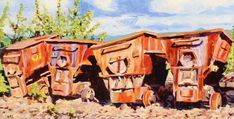 Husky Mine Cars, Acrylic, 24x48 inches, Jeff Wilson, 2018 Husky, Cabin, House Styles, Painting, Art, Art Background, Cabins, Painting Art, Kunst