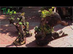 Como hacer una jardinera de madera o macetero con un tronco - YouTube