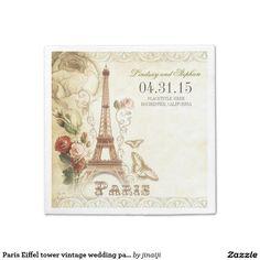 Paris Eiffel tower vintage wedding paper napkins