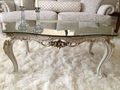 Antique Mirror Coffee Table | 725antique Reproduction Coffee Table With  Tinted Mirror Top In .