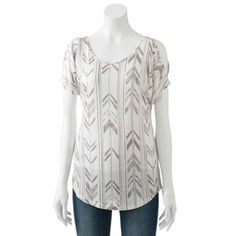 Mudd Cold-Shoulder Top - Juniors- Kohls. Sleeve detail is so cute! I paired it with zipper detail skinnies and gray sandals for a casual evening out.