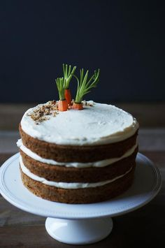 This three-layer carrot cake topped with carrot tops is a clever decoration.