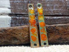 Super Slender Mandarin Orange Enamel Earring by BlueHareartwear