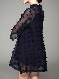 Dark Blue 3/4 Sleeve Polyester A-line Asymmetric Mini Dress