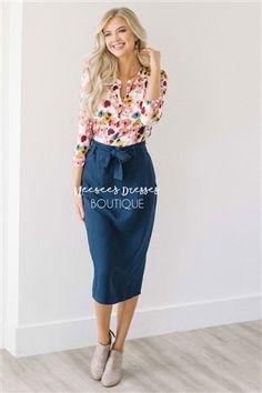 Navy Sash Belted Pencil Skirt