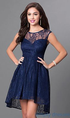 c0ec30045729 Navy Blue Lace High-Low Homecoming Party Dress