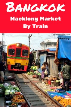 Maeklong Railway Market near Bangkok has a train run through it eight times a day. But you can actually get to the market on that train. Here's how