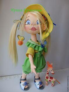 Купить Куколка-малышка БЕЛОСНЕЖКА с жирафом ФОМКОЙ ручной работы. - ярко-зеленый, зеленый, желтый