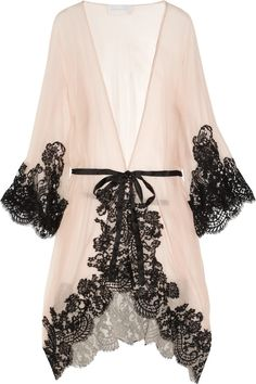 Be gorgeous in the boudoir!    ROSAMOSARIO  Mezza Luna silk-crepe and lace robe