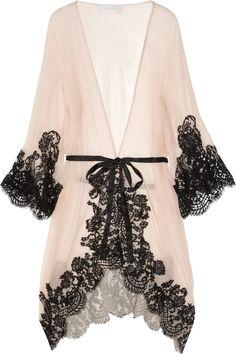 Rosamosario|Mezza Luna silk-crepe and lace robe|NET-A-PORTER.COM