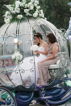 Tears of joy from Disneyland bride, Kerry as she takes a ride in Cinderella's Crystal Coach
