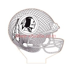 Washington Redskins NFL helmet illusion lamp plan vector file for CNC - 3d Cnc, Washington Redskins, Cnc Router, Vector File, Metal Working, Illusions, Woodworking Projects, Stencils, Nfl