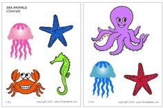Make Sea Animals Stick Puppets: Free printable coral reef fishes, jellyfish, starfish, seahorse, crab, octopus, sharks, whales, sea turtles, and dolphins.  http://www.firstpalette.com/tool_box/printables/seaanimals.html#