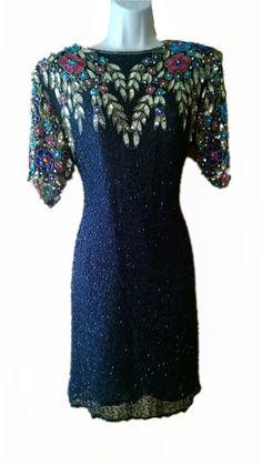 Iconic 1980s Dress  Black Silk with Heavy by VintageFashionandArt, $49.99