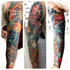 Men's full sleeve tattoo in a new school style with water, koi fish, and lantern.