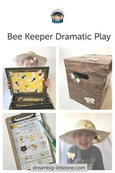 This is fun dramatic play center activities with a honey bee theme. Student can act out roles as beekeeper, and bees by taking care of a beehive; they can act as a seller, and customer at the honey market stand, all while learning about honey bees, math, literacy, social/emotional and physical skills int the classroom. The printables props are suited for toddlers, preschool and kindergarten.