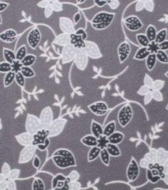 """Blizzard Fleece Fabric 59"""" - Gray Floral"""