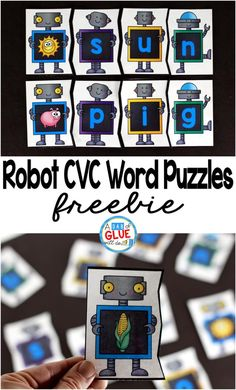 Robot CVC Word Puzzles is the perfect addition to your literacy centers. This free printable is great for preschool, kindergarten and first grade students. #freeprintable #CVC #phonics