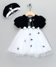 Take a look at this Navy Velvet Taffeta Rosebud Dress & Beret - Infant & Toddler by Shanil on #zulily today!