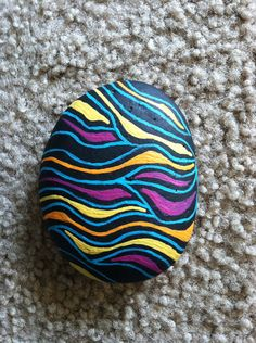 Hand painted stone Under the Sea.  by PsychedelicSheep on Etsy, $25.00