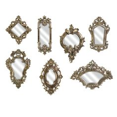 Bring a touch of ornate elegance to your entryway or master suite with this Victorian-inspired wall mirror set, showcasing intricately scrolling frames in a lovely gold finish.