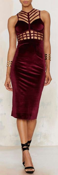 Caged In Velvet Cutout Dress ==