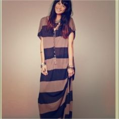 """Free People Maxi Cover/ Dress Brown & Black striped maxi dress from We the Free! Reposh, last owner cut the bottom off its approx. 49"""" from top of shoulder to bottom of dress. Has two side slits and all buttons are there. Would be a very cute bathing suit cover or slouchy type dress. Very baggy. XS/ S, but will fit a medium and possibly large as well again, it's free people and very baggy look. Free People Dresses Maxi"""
