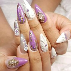 These nails by @sabrina_ils are so gorgeous!  .  Featured charms, Swarovski crystals and BLC Glass Bullion are available at DAILYCHARME.COM.