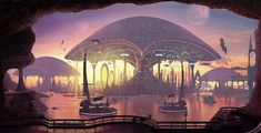 Futuristic and science-fiction cities fascinate the viewer. Fantasy and hi Fantasy City, World Of Fantasy, Fantasy Places, Sci Fi Fantasy, Futuristic City, Futuristic Architecture, Futuristic Vehicles, Environment Concept Art, Environment Design