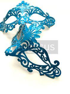 TEAL blue Venetian Mask 1 Mask Lace Pattern Venetian by pegasus22