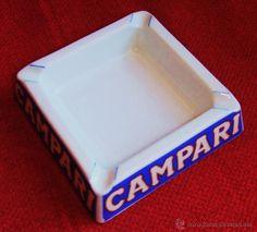 CENICERO CAMPARI DE PORCELLANA DI LAVERNO (Vintage - Decoración - Varios)