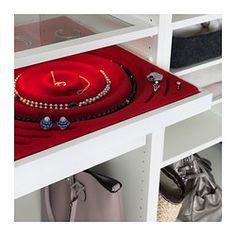 IKEA - KOMPLEMENT, Schmuckeinsatz für Ausziehboden, , Weicher Filz schützt Accessoires und hält sie am Platz.Mit dem Einsatz lassen sich Ketten, Ringe und Ohrringe übersichtlich verwahren und ordnen.