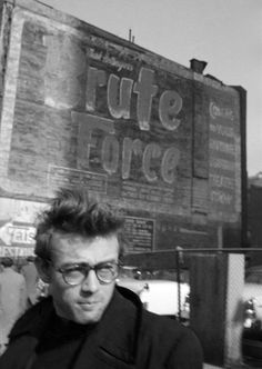 BRUTE FORCE - Actor James Dean walks past a brick building with an old painted promotional sign for Universal Pictures' 1948 prison movie which starred Burt Lancaster. Hollywood Actor, Classic Hollywood, Old Hollywood, Hollywood Icons, Dennis Stock, Indiana, James Dean Photos, East Of Eden, Actor James