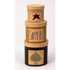 """Amazon.com: Primitive Set of 3 Stackable Annie, Simplify, and Star Nesting Painted Paper Mache Boxes - Total Height Stacked: 12.25""""high: Arts, Crafts & Sewing"""
