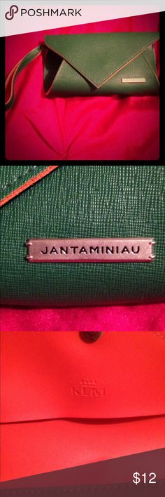 Wristlet Green exterior wristlet, with orange enterior, clean cute to carry on its own or used as a pocket bag, makeup bag. jantaminiau Bags Clutches & Wristlets