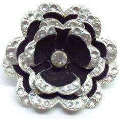 Made-in-GERMANY-Vintage-LAYERED-FLOWER-BROOCH-PIN-Black-Enamel-Rhinestone-SALE