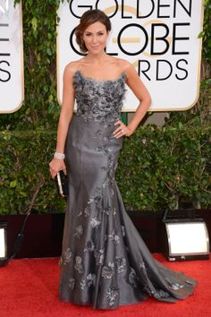 Golden Globes 2014: Red Carpet Arrivals.  Thea Andrews.  I'm not a big fan on grey but this look is gorgeous on a brunette.