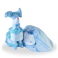 Surprise that Little Baby Boy Puppy Diaper Gift Basket Set