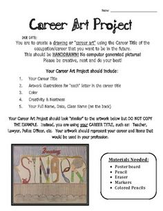 Career Art Project- good way to incorporate this theme into the hs art curriculum Art Sub Plans, Art Lesson Plans, High School Art, Middle School Art, Art Sub Lessons, Art Doodle, Art Careers, Art Handouts, 8th Grade Art