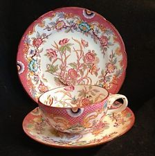 Minton Pink Hand Painted Sarreguemines Tea Cup Saucer And Dessert Plate Trio in Pottery & Glass, Pottery & China, China & Dinnerware Coffee Cups And Saucers, Teapots And Cups, Tea Cup Saucer, Tea Cups, Dessert Design, Design Plat, China Tea Sets, Tea Service, My Cup Of Tea