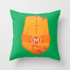Michelangelo Turtle  Throw Pillow by Salina Ayala - $20.00