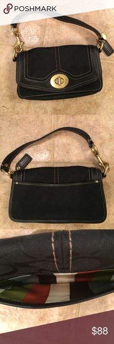 """Black Coach Signature Front Flap Purse Black Coach Signature canvas & leather purse with decorative tan stitching & heavy gold hardware.  Front flap with turn closure.  Back pocket, 1 inner zip pocket & 1 open pocket.  Interior lining is multi color Striped.  Bottom & handle are black leather.  Key fob & medallion are attached.  Bottom measures 9""""x 2.5"""", 5.5 """" tall, strap is 14"""", drop is 6.5"""".  EUC. Nonsmoking house. Coach Bags Shoulder Bags"""