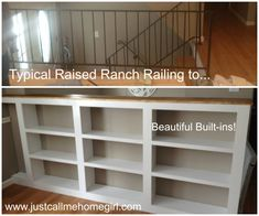 how to change stair railing into bookcase knee wall