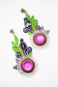 One of a kind Swarovski Earrings Spring flower  - soutache - Swarovski cristals and pearls - delica beads - miyuki beads - superduo beads -