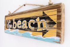To The Beach Sign on Reclaimed Distressed Wood Beach Art Surf Shop Wooden Sign Coastal Beach Surf Baby Nursery Beach Theme Kids Room