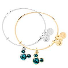 Mickey Mouse Birthstone Bangle by Alex and Ani - December | Disney Store Celebrate your December birth month in style with this Mickey Mouse Birthstone Bangle by Alex and Ani. A Mickey icon of dazzling turquoise Swarovski crystals adorns the adjustable bracelet which is available in silver or gold finishes.