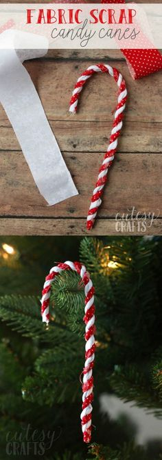 fabric scrap candy cane ornaments - Homemade Christmas Decorations Pinterest